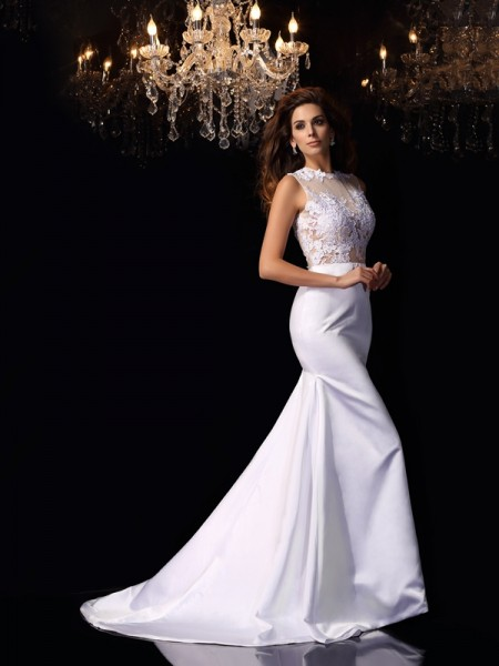 Trumpet/Mermaid High Neck Sleeveless Satin Chapel Train Wedding Dresses with Applique