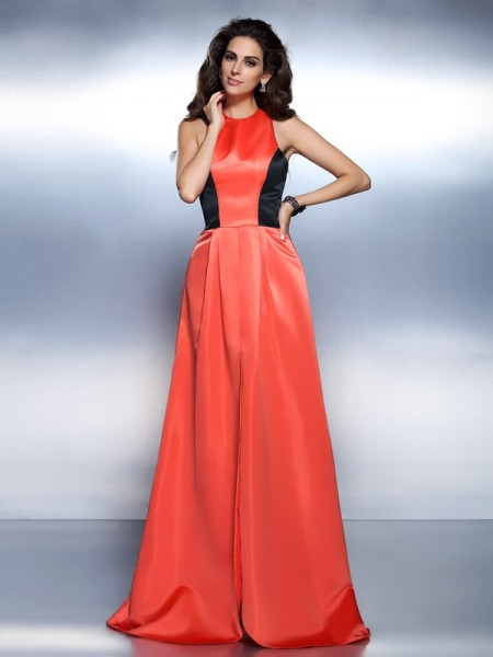 A-Line/Princess High Neck Sleeveless Floor-Length Satin Prom/Evening Dresses