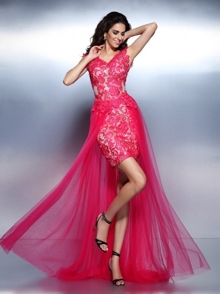 A-Line/Princess V-neck Sleeveless Lace Floor-Length Lace Prom/Evening Dresses