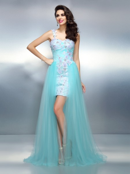 Sheath/Column One-Shoulder Sleeveless Sweep/Brush Train Elastic Woven Satin Prom Dresses with Applique