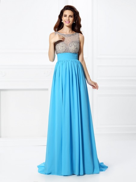 A-Line/Princess Bateau Sleeveless Sweep/Brush Train Chiffon Prom Dresses with Beading