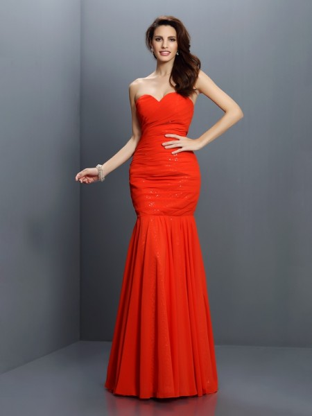 Trumpet/Mermaid Sweetheart Sleeveless Floor-Length Chiffon Bridesmaid Dresses with Pleats