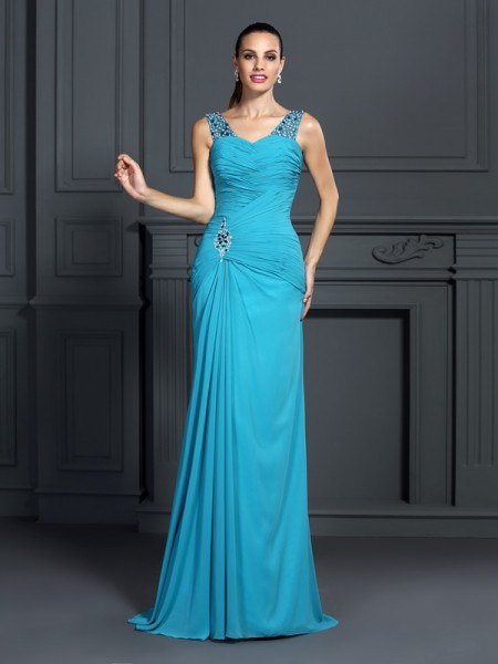 Trumpet/Mermaid Straps Sleeveless Sweep/Brush Train Chiffon Prom/Evening Dresses with Ruffles