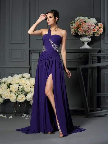 A-Line/Princess Sleeveless One-Shoulder Chiffon Sweep/Brush Train Dresses with Beading