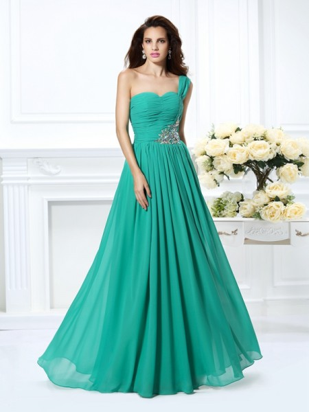A-Line One-Shoulder Chiffon Prom Dresses with Beading