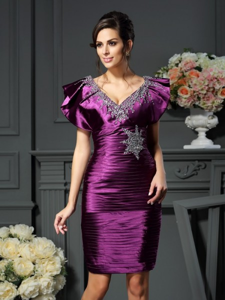 Sheath/Column V-neck Sleeveless Short/Mini Elastic Woven Satin Mother of the Bride Dresses with Beading