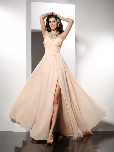 A-Line/Princess Jewel Sleeveless Sweep/Brush Train Chiffon Prom/Evening Dresses with Ruffles