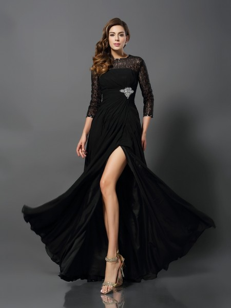 A-Line/Princess Bateau 3/4 Sleeves Chiffon Floor-Length Lace Prom/Evening Dresses