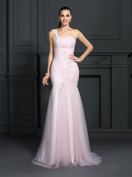 Trumpet/Mermaid One-Shoulder Sleeveless Sweep/Brush Train Satin Prom/Evening Dresses