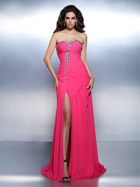 A-Line/Princess Sweetheart Sleeveless Sweep/Brush Train Chiffon Prom/Evening Dresses with Beading