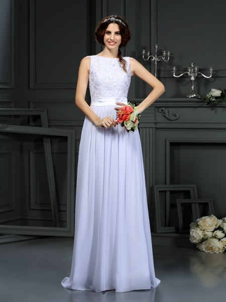 A-Line/Princess Scoop Sleeveless Lace Chiffon Floor-Length Wedding Dresses