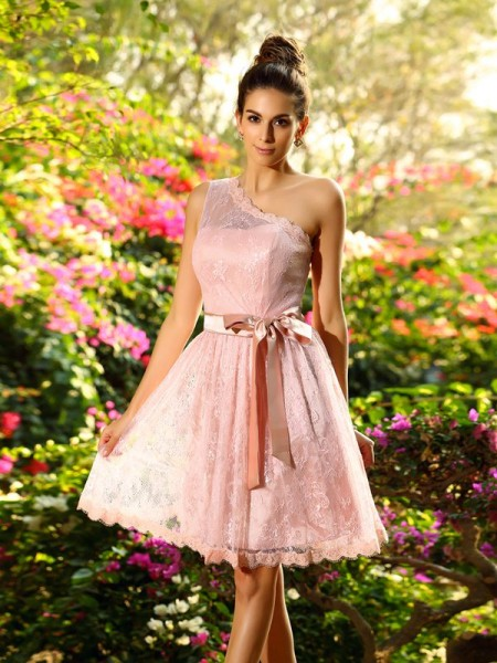 A-Line/Princess Sleeveless One-Shoulder Elastic Woven Satin Knee-Length Dresses with Sash/Ribbon/Belt
