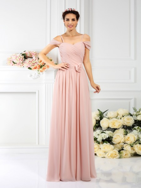 A-Line/Princess Spaghetti Straps Sleeveless  Floor-Length Chiffon Bridesmaid Dresses with Hand-Made Flower Pleats