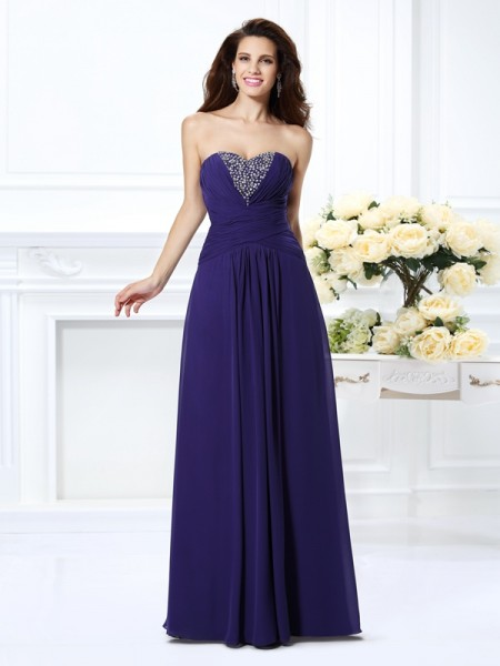 A-Line/Princess Sweetheart Chiffon Long Prom/Evening Dresses with Beading