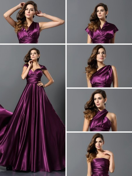 A-Line/Princess Sleeveless Silk like Satin Floor-Length Convertible Dresses with Pleats