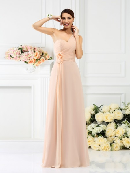 One-Shoulder Long Chiffon Bridesmaid Dresses with Pleats