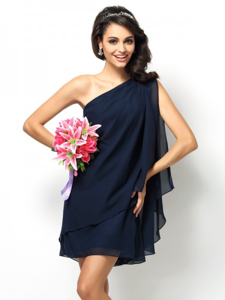 A-Line/Princess One-Shoulder Sleeveless Short/Mini Chiffon Bridesmaid Dresses