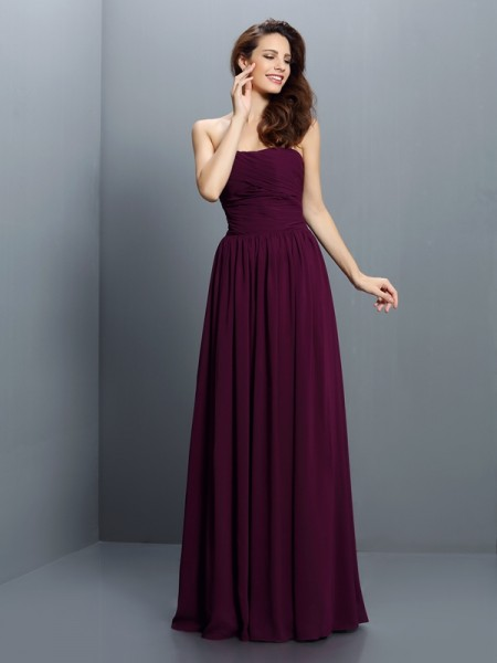 Strapless Sleeveless Chiffon Long Bridesmaid Dresses with Pleats
