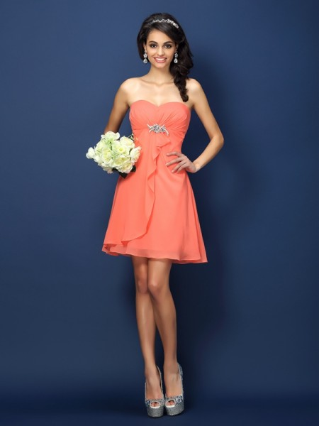 A-Line/Princess Sweetheart Sleeveless Short/Mini Chiffon Bridesmaid Dresses with Beading