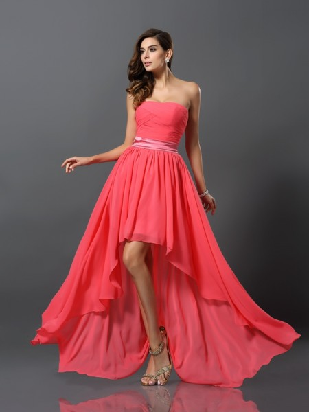 A-Line/Princess Sweetheart Chiffon Asymmetrical Sleeveless Bridesmaid Dresses