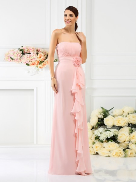 Column Strapless Sleeveless Chiffon Long Bridesmaid Dresses with Hand-Made Flower