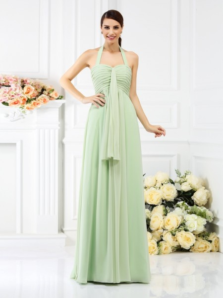 A-Line/Princess Halter Sleeveless Floor-Length Chiffon Bridesmaid Dresses with Pleats