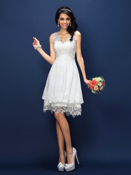 A-Line/Princess V-neck Sleeveless Lace Short/Mini Satin Bridesmaid Dresses