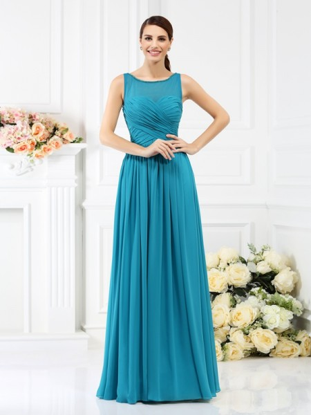 A-Line/Princess Bateau Sleeveless Floor-Length Chiffon Bridesmaid Dresses with Pleats