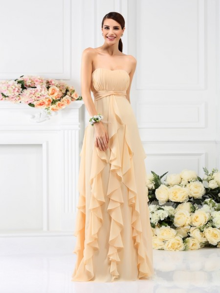 A-Line/Princess Strapless Chiffon Long Bridesmaid Dresses with Pleats