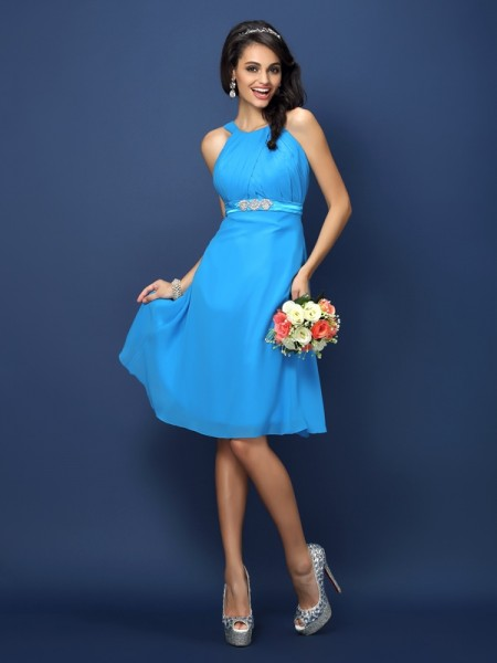 A-Line/Princess Bateau Sleeveless Knee-Length Chiffon Bridesmaid Dresses with Sash/Ribbon/Belt