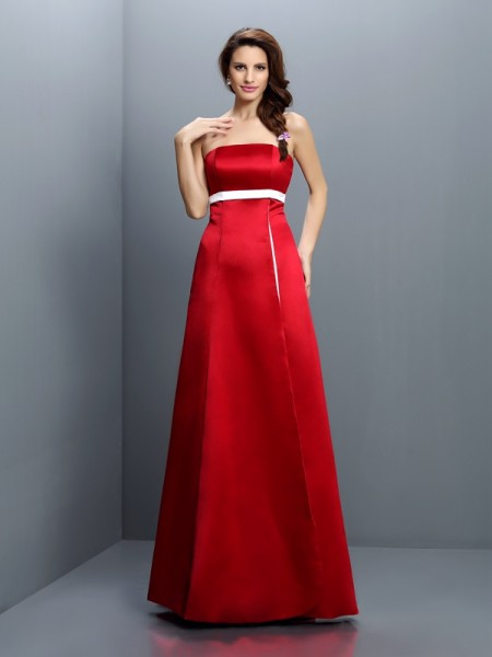 A-Line/Princess Strapless Sleeveless Floor-Length Satin Bridesmaid Dresses with Sash/Ribbon/Belt with