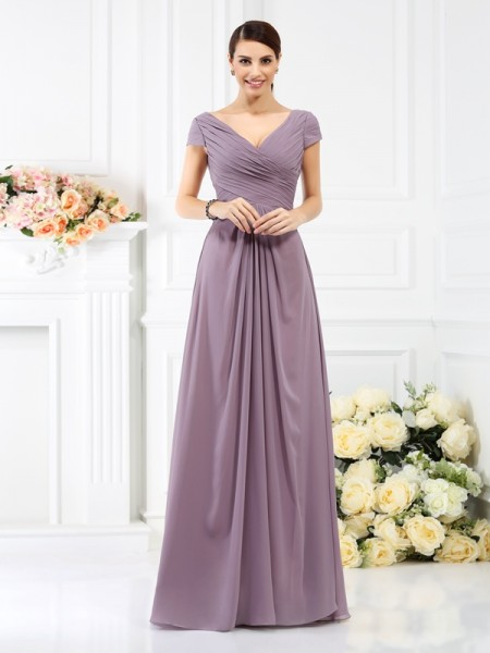 A-Line/Princess V-neck Floor-Length Chiffon Bridesmaid Dresses with Pleats