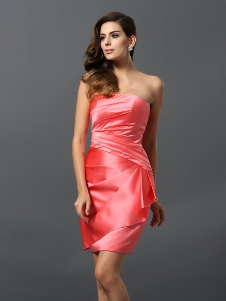 Sheath/Column Sleeveless Satin Strapless Short/Mini Dresses with Ruched