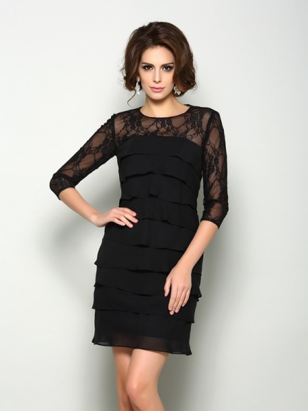 A-Line/Princess Scoop 1/2 Sleeves Short/Mini Chiffon Mother of the Bride Dresses