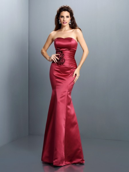 Trumpet/Mermaid Strapless Sleeveless Floor-Length Satin Evening Dresses with Hand-Made Flower