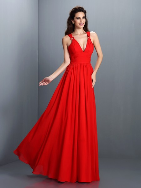 A-Line/Princess V-neck Sleeveless Floor-Length Chiffon Dresses with Pleats
