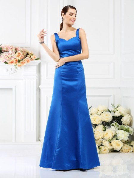 Sheath/Column Straps Sleeveless Floor-Length Satin Bridesmaid Dresses