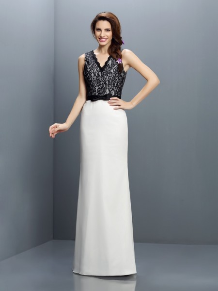 Sheath/Column V-neck Sleeveless Lace Floor-Length Chiffon Bridesmaid Dresses