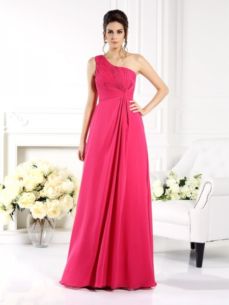 A-Line/Princess One-Shoulder Sleeveless Floor-Length Chiffon Dresses with Ruched
