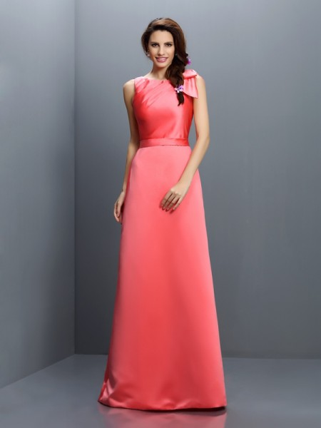Sheath/Column Bateau Sleeveless Floor-Length Satin Bridesmaid Dresses