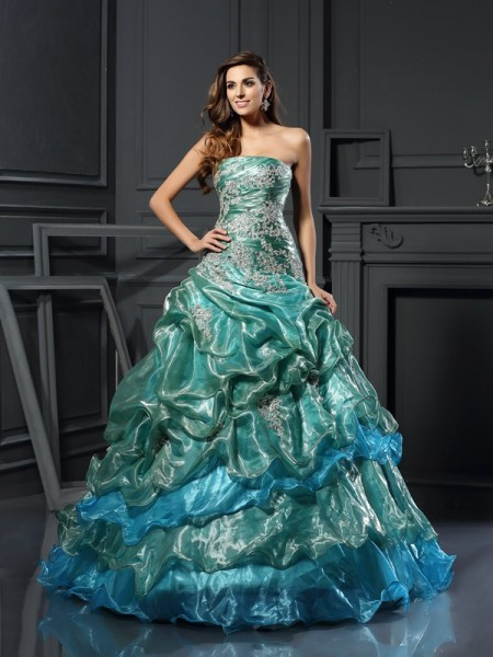 Ball Gown Sleeveless Sweetheart Tulle Long Prom Dresses with Applique