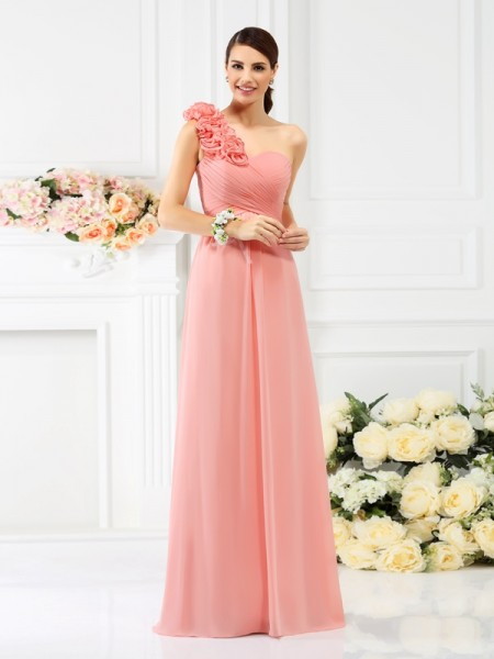 A-Line/Princess One-Shoulder Sleeveless Floor-Length Chiffon Bridesmaid Dresses with Hand-Made Flower