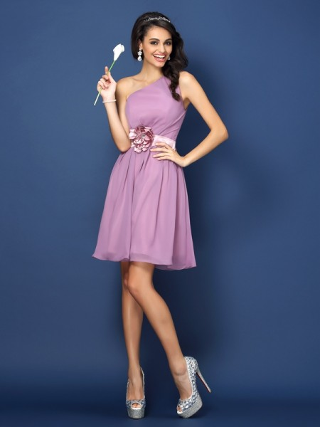 A-Line/Princess One-Shoulder Sleeveless Short/Mini Chiffon Bridesmaid Dresses with Hand-Made Flower