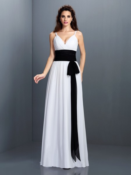 A-Line/Princess V-neck Sleeveless Floor-Length Chiffon Dresses with Sash/Ribbon/Belt