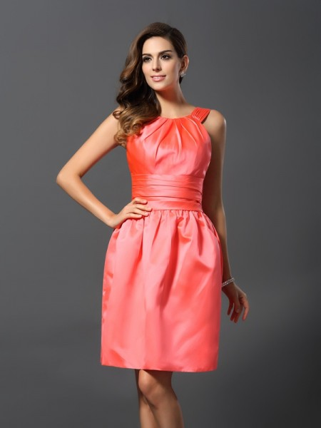 A-Line/Princess Sleeveless Bateau Knee-Length Satin Bridesmaid Dresses