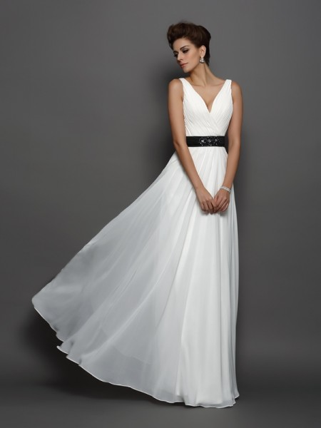 A-Line/Princess Sleeveless V-neck Chiffon Floor-Length Wedding Dresses with Sash/Ribbon/Belt