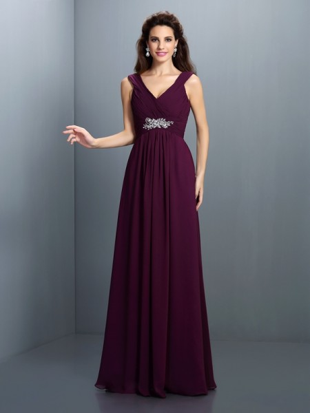 V-neck Sleeveless Floor-Length Chiffon Dresses with Pleats Beading