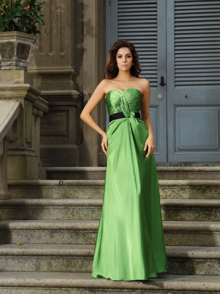 A-Line/Princess Sleeveless Sweetheart Silk like Satin Long Dresses