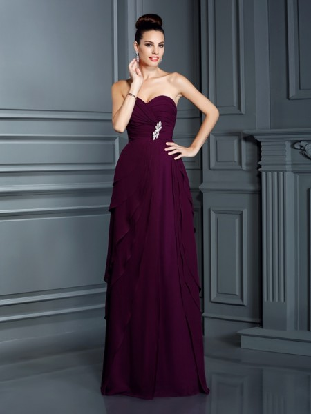 A-Line/Princess Sweetheart Sleeveless Floor-Length Chiffon Prom/Evening Dresses with Ruffles
