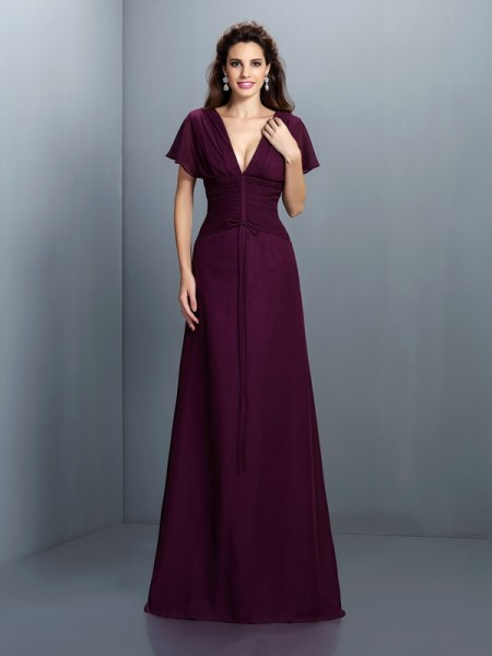 A-Line/Princess V-neck Short Sleeves Floor-Length Chiffon Evening Dresses with Ruched